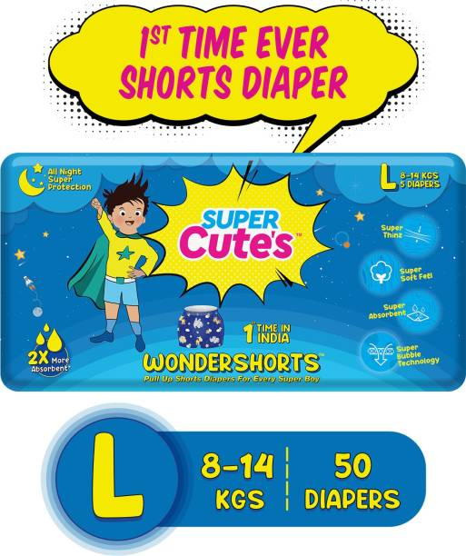 Super Cute's | WonderShorts for Boys | Pant Style Ultra Premium Diaper with Disposable Shorts | Diaper inside Shorts Outside - L