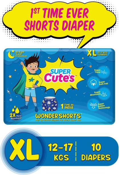 Super Cute's | WonderShorts for Boys | Pant Style Ultra Premium Diaper with Disposable Shorts | Diaper inside Shorts Outside - XL