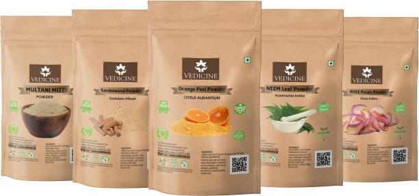 VEDICINE Multani Mitti Sandalwood (Chandan) Orange Peel Neem Leaf Rose Petals Powder for Face and Skin (40g each)
