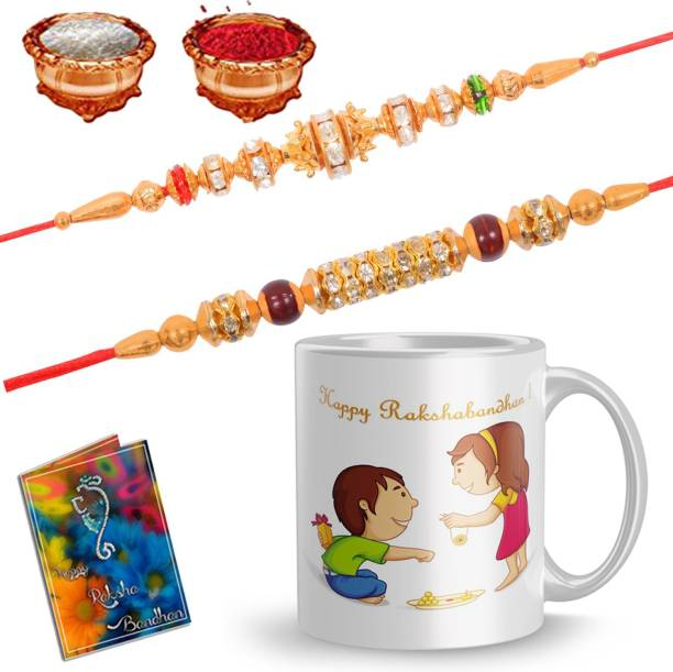 Dreamlivproducts Designer Rakhi, Mug, Greeting Card  Set