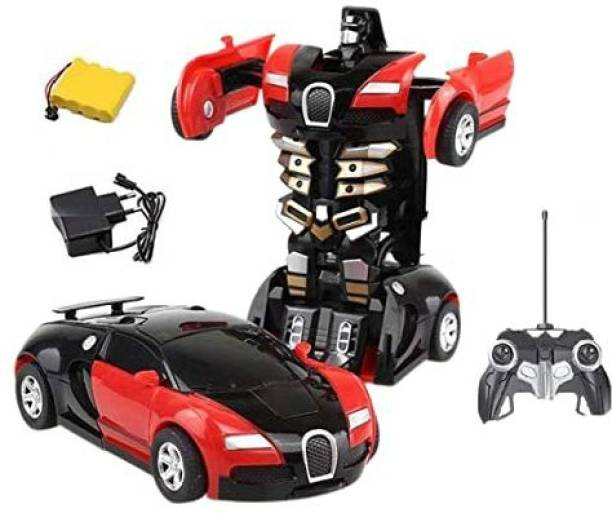 KRISHI TRADEBOOK RC Transforming Robot Toy Red Autobots Remote Control (27 MHz) Realistic Engine Sounds 1:14 Scale (Multicolor)