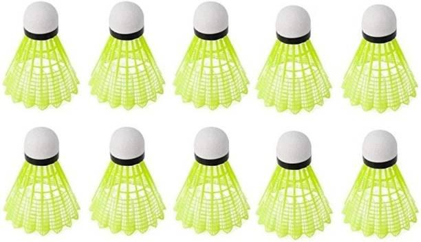 BOXO (10 in 1) Nylon Badminton Shuttlecocks (Yellow) Nylon Shuttle  - Green