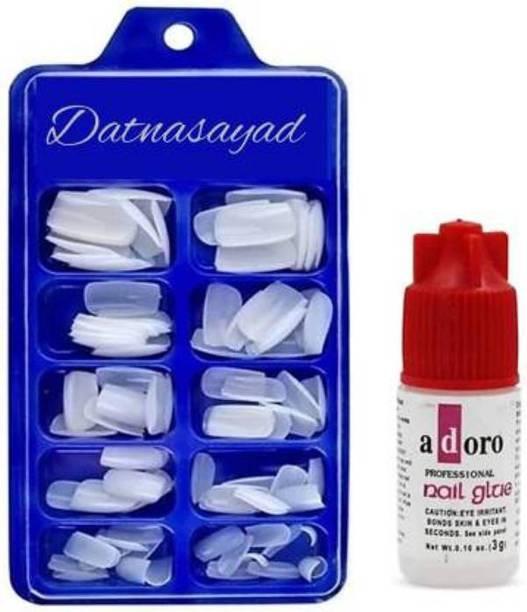 DATNASAYAD Reusable Acrylic False Nails & Glue White White
