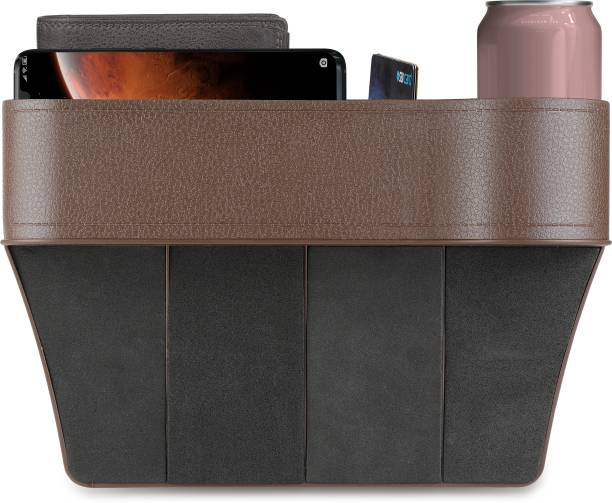 Bestor Car Seat Gap Organizer, Multifunctional with Small Cup Holder, Storage Box ( Pack of 1 , Brown ) Car Side Seat Catcher