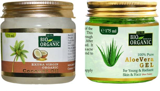 Indus Valley BIO Organic Extra Virgin Coconut Oil With 100% Pure Aloe Vera Gel (Combo Pack)