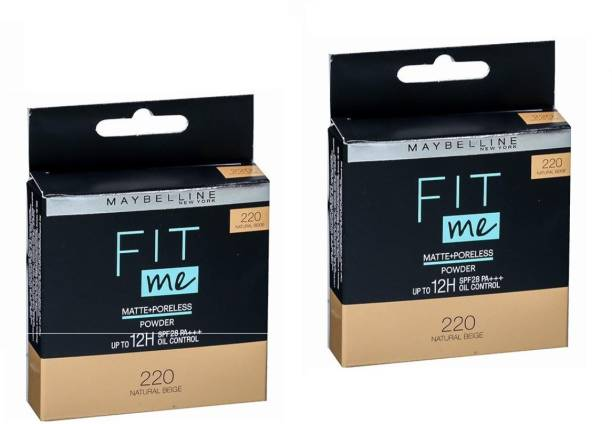 MAYBELLINE NEW YORK 220 NATURAL BEIGE COMPACT POWDER 8G SET OF 2 Compact