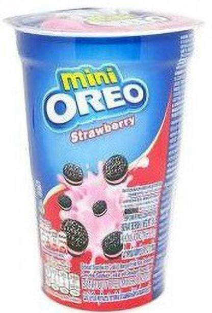OREO Mini Strawberry Flavoured Cream Biscuit Cup, 1X63GM (Imported) (Pack Of 1) Cream Filled