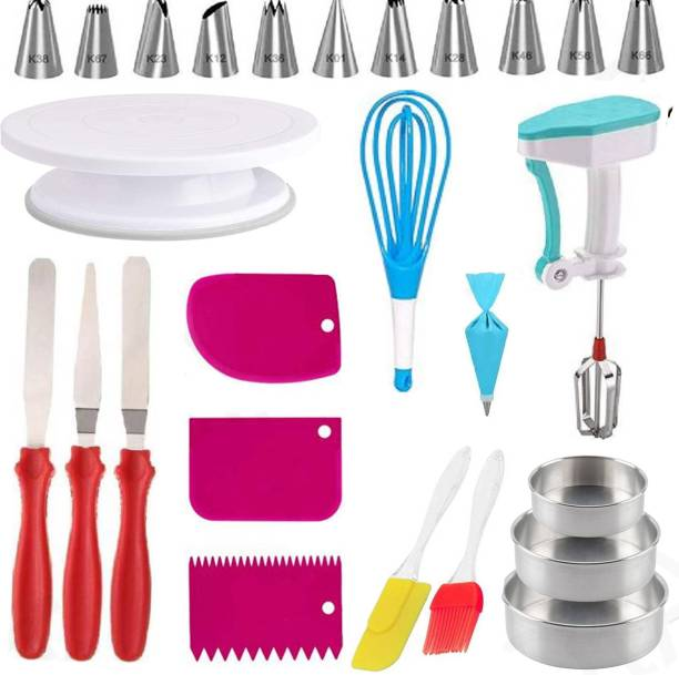SCIVER X-358 Cake Decorating Kits Cake Turntable, 12 Numbered Cake Decorating Tips, 3 Icing Spatu power free hand blender, 3 pis alumila, 3 Icing Smoother, 1 Silicone Piping Bag, 1 Coupler, 1 Set Brush Spatula, 8 pc Measuring Cup & Spoons, wisk , aluminium mould, Kitchen Tool Set Multicolor Kitchen Tool Set