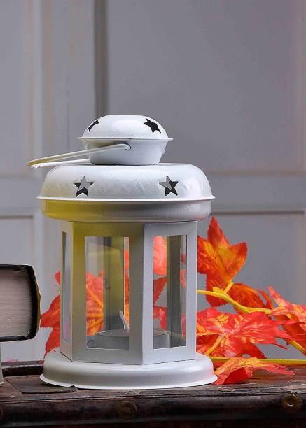 Naaz T Light Lantern , Set of 1 White, White Steel Hanging Lantern