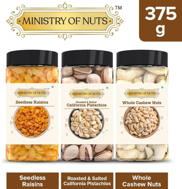 Ministry Of Nuts Special Pack of 3 Seedless Raisins - 150g, Roasted & Salted Caifornia Pistachios- 100g, Whole Cashew Nuts - 125g   All Natural, Good Source of Protein & Dietary Fibres   Zero Cholesterol & Trans Fat   Energy Booster Assorted Nuts Assorted Nuts