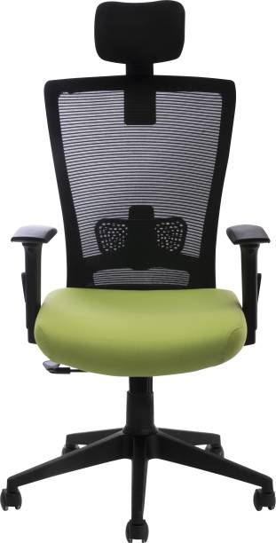 Bluebell VIVO PREMIUM ERGONOMIC HIGH BACK REVOLOVING/EXECUTIVE CHAIR WITH MULTI POSITION LOCK,ADJUSTABLE LUMBER SUPPORT,ADJUSTABLE HEADREST, 3 WAY (3D) ADJUSTABLE ARMS AND BREATHEABLE MESH BACK (BLACK-GREEN) Mesh Office Executive Chair