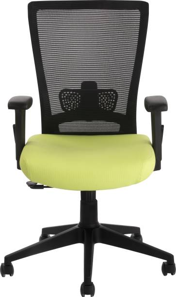 Bluebell VIVO ERGONOMIC MED BACK REVOLOVING/EXECUTIVE/WORKSTATION CHAIR WITH ADJUSTABLE LUMBER SUPPORT, ADJUSTABLE ARMS AND BREATHEABLE MESH BACK (BLACK-GREEN) Mesh Office Executive Chair