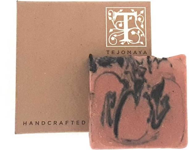 Tejomaya Handmade Natural Exfoliating Pink Clay and Charcoal soap