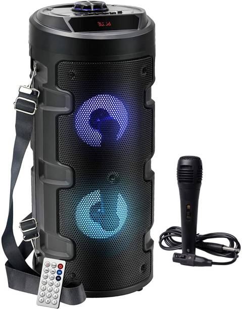 TECHOMANIA Attractive Design Wireless Bluetooth Portable J,B;L Party Speaker with RGB Glow Lights, Wired Mic, Remote Control, FM Radio & Aux in/USB/TF Card Reader 10 W Bluetooth Home Theatre