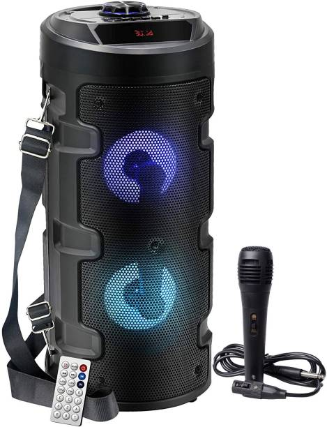Worricow New Arrival Wireless Bluetooth Portable Party Speaker with RGB Glow Lights, Wired Mic, Remote Control, FM Radio & Aux in/USB/TF Card Reader 10 W Bluetooth Speaker