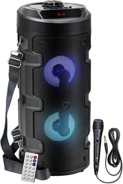 Worricow Brand New X-BASS Wireless Bluetooth Portable Party Dual Sound Speaker with RGB Glow Lights, Wired Mic, Remote Control, FM Radio & Aux in/USB/TF Card Reader 10 W Bluetooth PA Speaker