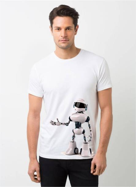 HamsaMART.com Graphic Print Men Round Neck White T-Shirt