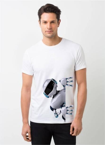 HamsaMART.com Printed Men Round Neck White T-Shirt