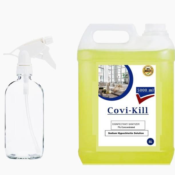 COVIKILL sodium hypochlorite house sanitizing solution spray safe & secure life FRESH (5000 ml) with 500 ml spray bottle