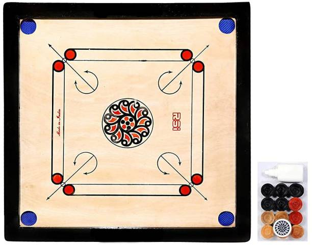 vnh Glossy Finish Full Size Carrom Board with Coins, Striker & Powder 50 cm Carrom Board