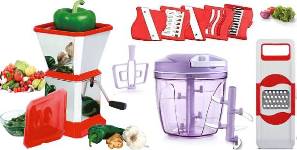 MANAKI TRADERS EXCLUSIVE COMBO SET FOR YOU KITCHEN 900 ML JUMBO SIZE CHOPPER AND STAINLESS STEEL CHILLI CUTTER WITH CAP AND 1 GRATER WITH 6 BLADES Vegetable & Fruit Chopper