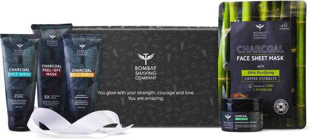 BOMBAY SHAVING COMPANY Father's Day Gift Kit   Charcoal De-Tan & Detox Kit For Men   Charcoal Face Wash   Charcoal Scrub   Charcoal Peel-Off Mask   Charcoal Face Pack   Charcoal Sheet Face Mask