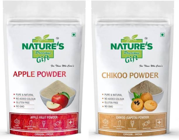 Nature's Precious Gift Apple Powder & Chiku Fruit Powder - 200 GM Each (Super Saver Combo Pack)