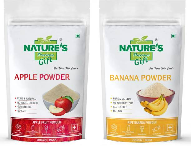 Nature's Precious Gift Apple Powder and Banana Fruit Powder - 200 GM Each (Super Saver Combo Pack)