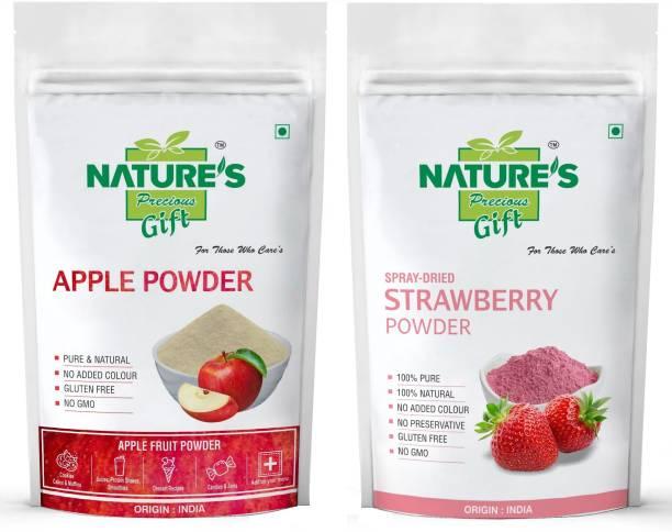 Nature's Precious Gift Apple Powder & Strawberry Powder - 200 GM Each (Super Saver Combo Pack)