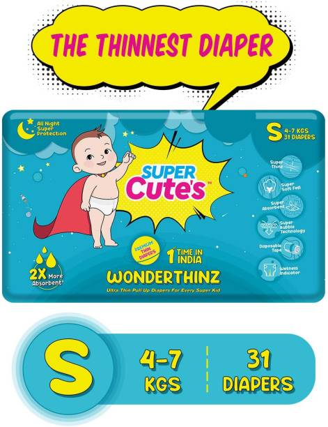Super Cute's | WonderThinz | Pant Style Ultrathin Premium Diaper For 2X Absorption & Comfort - S