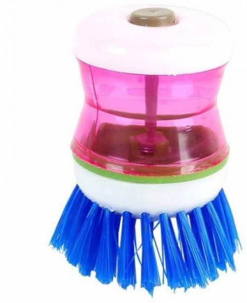 GK sales Plastic Wash Basin Brush Cleaner with Liquid Soap Dispenser (Multicolour) Dishwash Bar