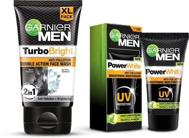GARNIER (John's Skincare Essentials | Turbo Bright Facewash, 150 gm + Power White Moisturiser, 40 gm ) (Pack of 2 Prodcuts) Face Wash