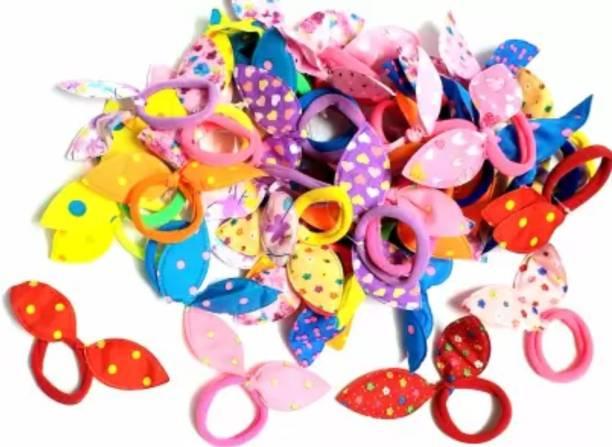Ganapati Universal Co Elastic Hair Rubber Band Rabbit Ear for Women, Baby, Girl, Kids Multicolour Rubber Band Rubber Band