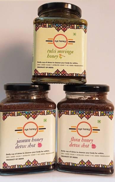 Oye Tulsi Moringa Honey, Multi-Flora Detox Honey And Jamun Honey Detox Shot ( 500 gm ) (Pack of 3)