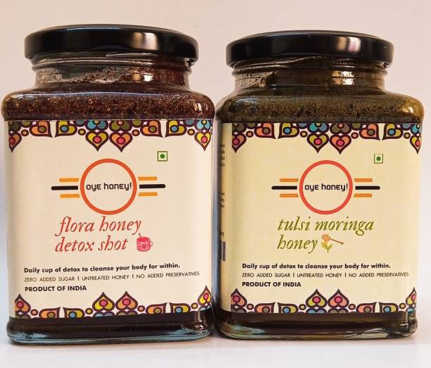 Oye Multi-Flora Detox Shot And Tulsi Moringa Honey ( 500 gm ) (Pack of 2)