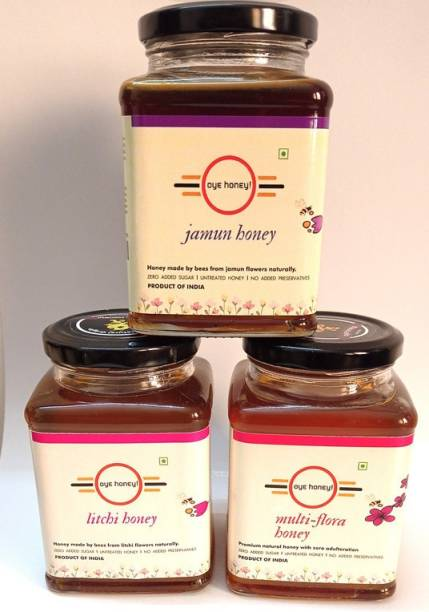 Oye Jamun Honey, Litchi Honey And Multi Flora Detox Honey ( 500 gm ) (Pack of 3)