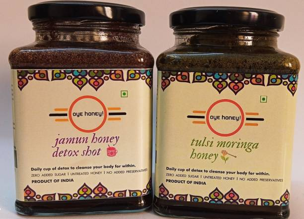 Oye Jamun Honey Detox And Tulsi Moringa Honey ( 500 gm ) ( Pack of 2)