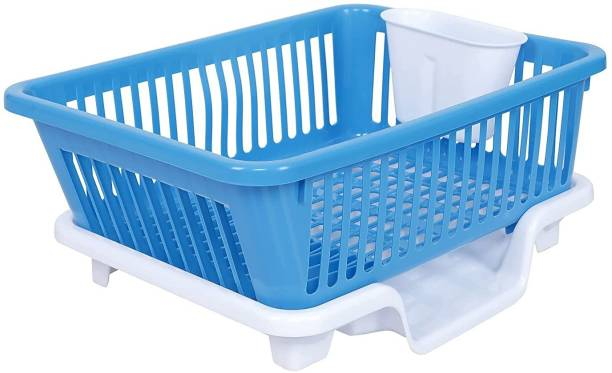 Cutting EDGE Blue and White | Durable Plastic Kitchen Sink Large Dish Rack Drainer Drying Rack Washing Basket with Tray for Kitchen, Dish Rack Organizers, Utensils Tools Dish Drainer Kitchen Rack