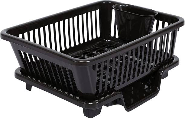Cutting EDGE Dark Brown | Durable Plastic Kitchen Sink Large Dish Rack Drainer Drying Rack Washing Basket with Tray for Kitchen, Dish Rack Organizers, Utensils Tools Dish Drainer Kitchen Rack