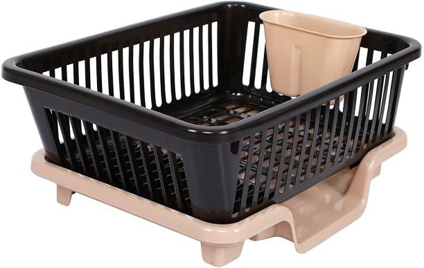 Cutting EDGE Black and Brown | Durable Plastic Kitchen Sink Large Dish Rack Drainer Drying Rack Washing Basket with Tray for Kitchen, Dish Rack Organizers, Utensils Tools Dish Drainer Kitchen Rack