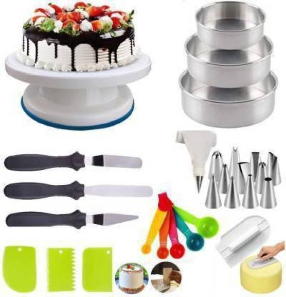 FEMICO CAKE COMBO Turntable & 12 pc Nozzle Set & 5 Measuring Cup & Spoon & ALUMINIUM MOULD Full Cake Maker Cake Maker