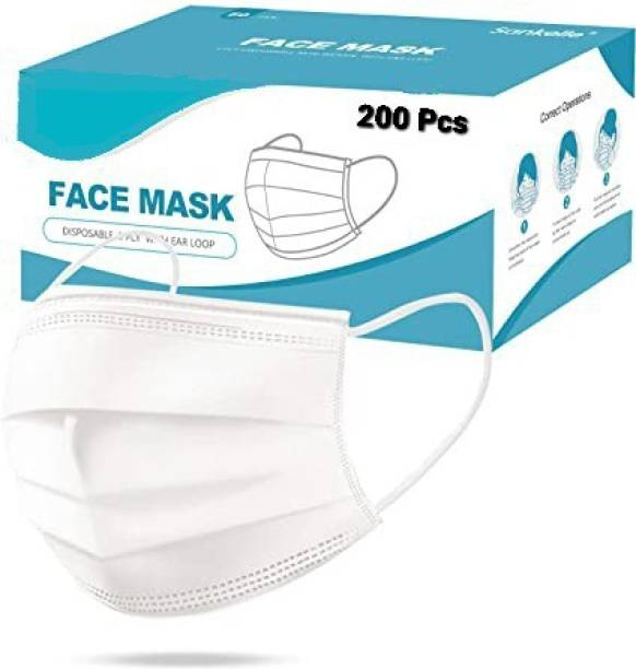 Vaghani 200 Pcs White Mask With Nose Pin Disposable Iso Mark 3 Ply Pharmaceutical Breathable Surgical Pollution Face Mask Respirator with 3 Layer For Men, Women, Kids 3 Ply Surgical Mask (200 Piece) ( White ) Surgical Mask With Melt Blown Fabric Layer