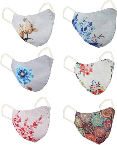WBQ Printed cotton pack of 6 Reusable, Washable Cloth Mask