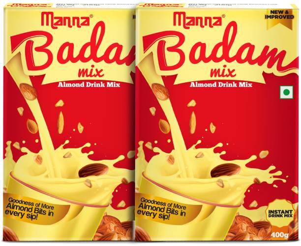 Manna Instant Badam Drink Mix, 800G | With Real bits of Badam, 400g (400g x 2 Packs) . More Bits per Sip (10% Badam). Make Milk tastier