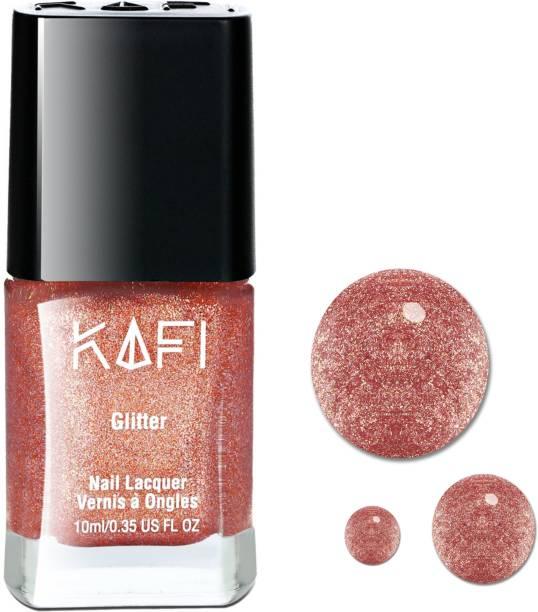 KAFI Glitter Nail Polish - Long lasting, Non Toxic, High Shine, Vegan, 10-Free Formula, SalonPro - (Rose Gold) Fine Glitter Shimmery Nail Paint. Fire & Gold