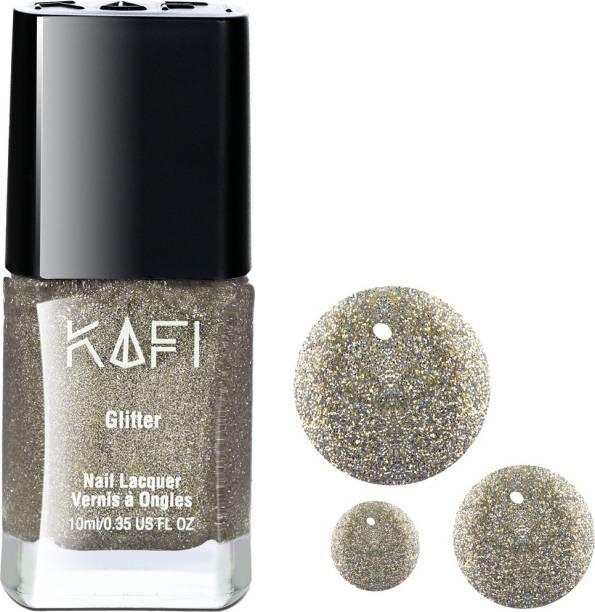 KAFI Glitter Nail Polish- Long lasting, Non Toxic, High Shine, Vegan, 10-Free Formula, SalonPro-(Fine Heavy Concentrated Glitters - Silver Gold) Walking Down The Aisle