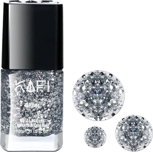 KAFI Glitter Nail Polish- Long lasting, Non Toxic, High Shine, Vegan, 10-Free Formula, SalonPro - (Big Silver Glitter) Born With Silver Spoon