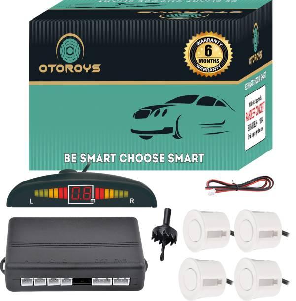 Otoroys Buzzer and Ultrasonic Reverse Parking Auto Radar Detectors (White) Car Reverse Parking Sensor with LED Display Parking Sensor