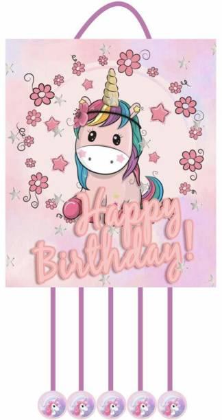 Simply Good Simply Good Unicorn Theme Pinata Pull String Birthday Party / Goodies Bag 1pc Pull String Pinata