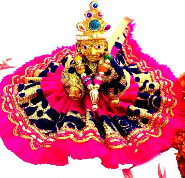 decor club 2 NO SIZE Pittal Laddu Gopal Statue Pital Brass Murti Kanha ji with pushak Laddu Gopal Thakur Ji Metal ,Metal Laddu Gopal Baby Krishna Bal Gopal Thakurji Decorative Showpiece 6cm Decorative Showpiece - 6 cm (Brass, Multicolor) Decorative Showpiece  -  8 cm